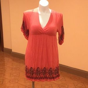 Monteau Coral kimono stretchy dress with sleeves